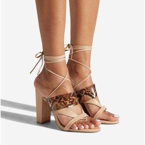 Beige Lace Up Strappy Sandal